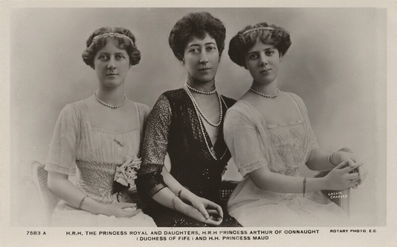 Princess Louise, Duchess of Fife and her daughters, by Lallie Charles (née Charlotte Elizabeth Martin), published by  Rotary Photographic Co Ltd, early 1910s - NPG x47143 - © National Portrait Gallery, London