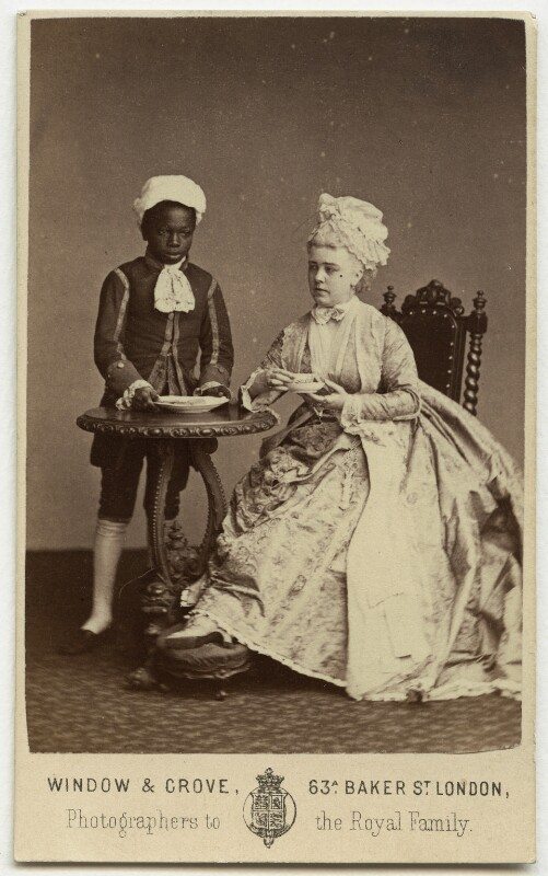 Marie Effie (née Wilton), Lady Bancroft as Lady Teazle and an unknown boy nicknamed 'Biafra' in 'The School for Scandal', by Window & Grove, 1874 - NPG x131009 - © National Portrait Gallery, London