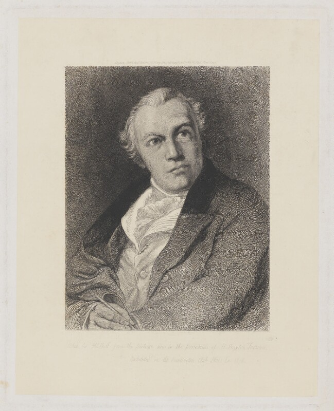 William Blake, by William Bell Scott, after  Thomas Phillips, 1881 (1807) - NPG D31872 - © National Portrait Gallery, London