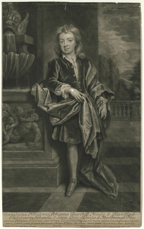 John Churchill, Marquess of Blandford, by and published by John Smith, after  Sir Godfrey Kneller, Bt, 1708 (circa 1695) - NPG D31877 - © National Portrait Gallery, London