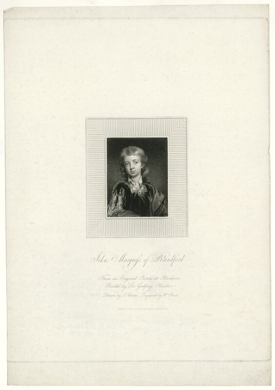 John Churchill, Marquess of Blandford, by William Bond, after  Thomas Uwins, after  Sir Godfrey Kneller, Bt, published 1817 (circa 1695) - NPG D31878 - © National Portrait Gallery, London