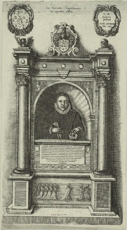 Monument to William Aubrey, by Wenceslaus Hollar, circa 1658 - NPG D25376 - © National Portrait Gallery, London