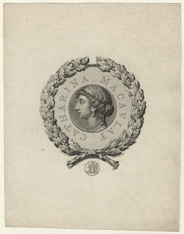 Catharine Macaulay (née Sawbridge), by James Basire, after  Giovanni Battista Cipriani, published 1765 - NPG D31912 - © National Portrait Gallery, London