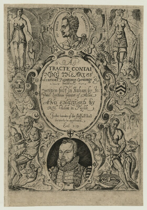 Richard Haydock, title to his translation of Lomazzo's Artes of Curious Paintinge, Carvinge & Buildinge, 1598, possibly by Richard Haydock, published 1598 - NPG D25462 - © National Portrait Gallery, London