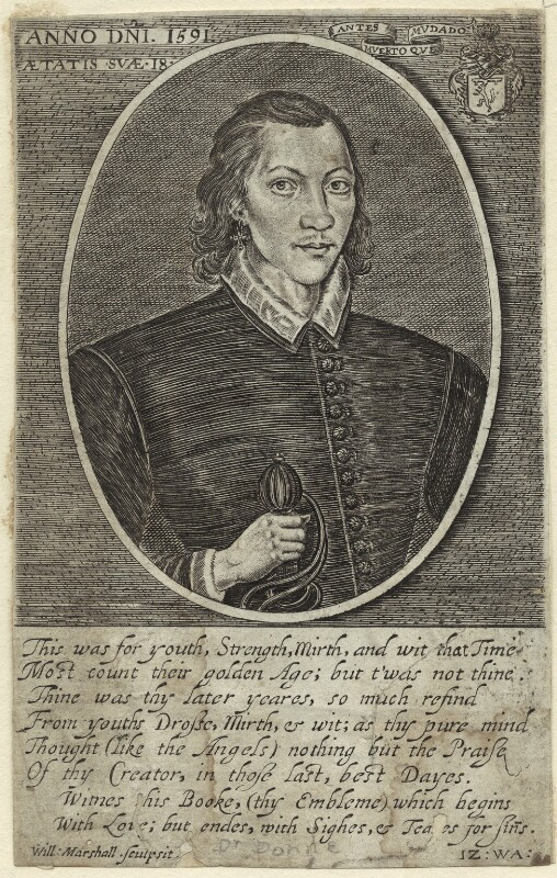 John Donne, by William Marshall, published 1649 - NPG D25490 - © National Portrait Gallery, London
