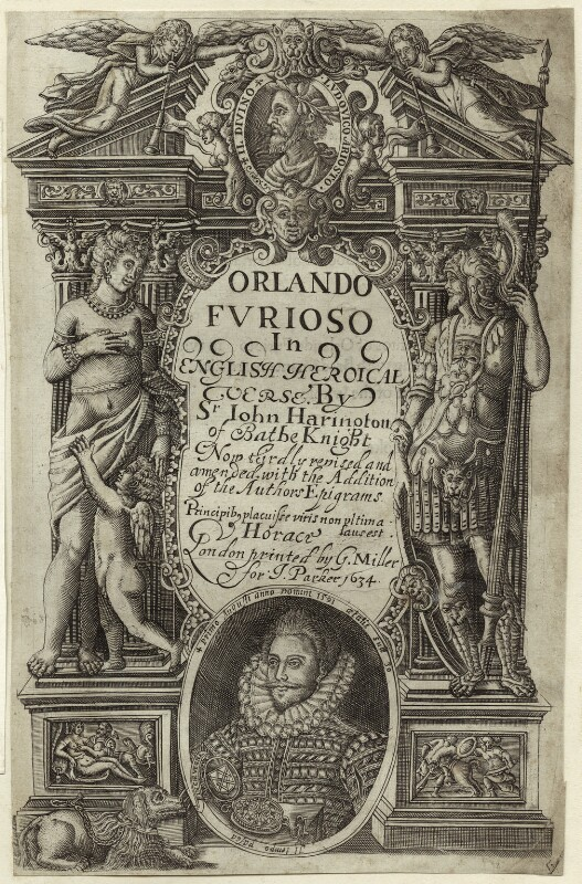 Sir John Harington in the title page to his translation of Ariosto's 'Orlando Furioso', after Unknown artist, 1634 - NPG D25494 - © National Portrait Gallery, London