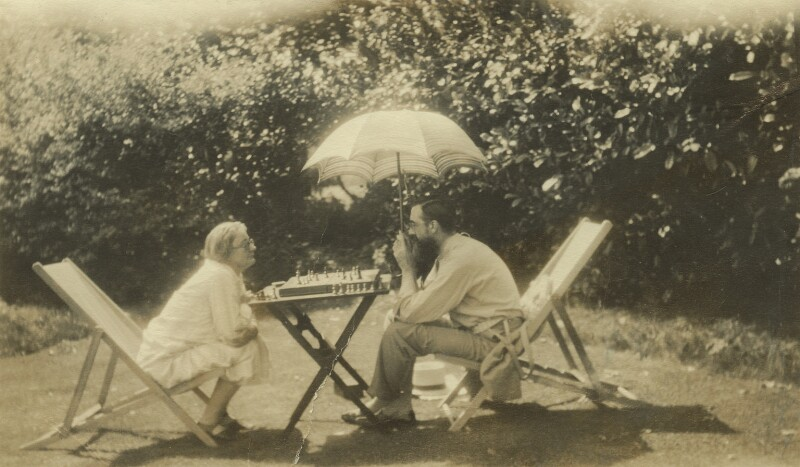Marjorie Strachey; Lytton Strachey, by Unknown photographer, circa 1928 - NPG x13081 - © National Portrait Gallery, London