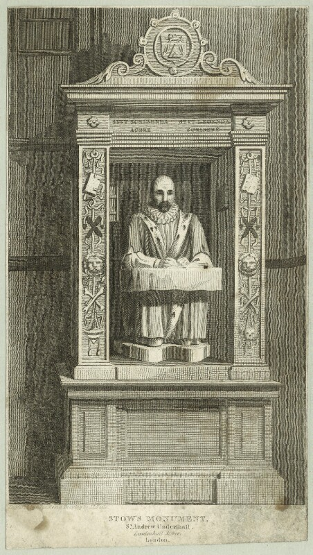 Monument to John Stow at St. Andrew, Undershaft, by Charles Pye, possibly early 19th century - NPG D25540 - © National Portrait Gallery, London