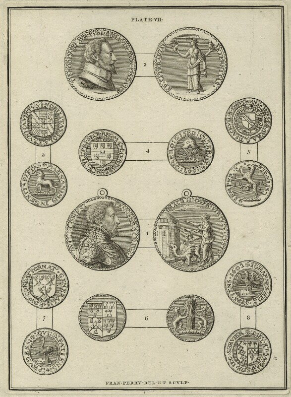 Medallions of Sir Thomas Bodley and William Herbert, 3rd Earl of Pembroke, by Francis Perry, possibly early to mid 18th century - NPG D25546 - © National Portrait Gallery, London