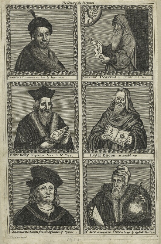Mohammed, Appoloneus Tyaneus, Sir Edward Kelley, Roger Bacon, Paracelsus, John Dee, after Francis Cleyn (Franz Klein), published 1659 - NPG D25548 - © National Portrait Gallery, London