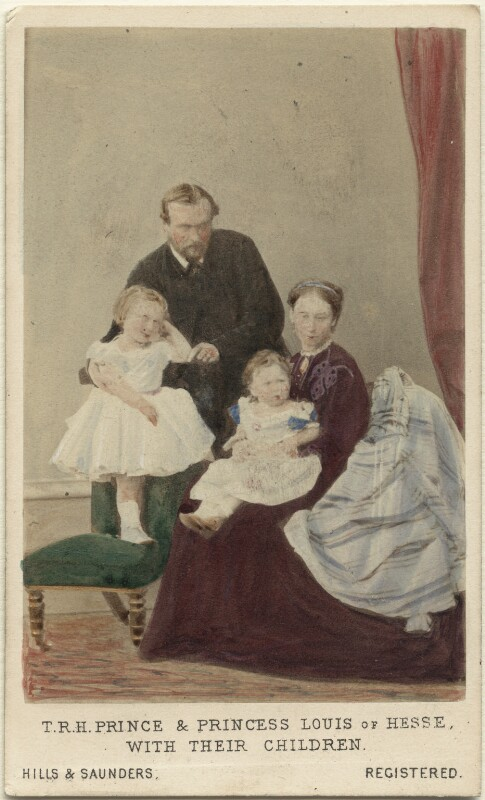 The Duke and Duchess of Hesse and by Rhine with their two eldest daughters, by Hills & Saunders, November 1865 - NPG Ax46754 - © National Portrait Gallery, London