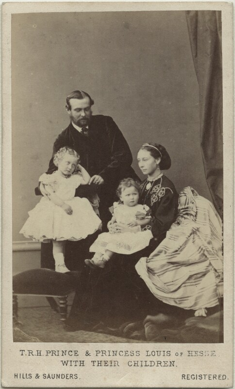 The Duke and Duchess of Hesse and by Rhine with their two eldest daughters, by Hills & Saunders, November 1865 - NPG x34505 - © National Portrait Gallery, London