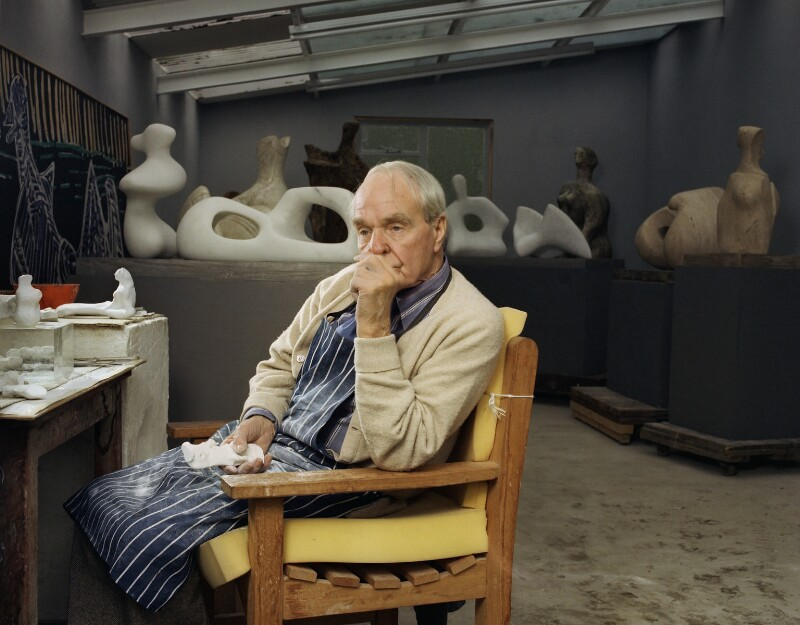 Henry Moore, by Bernard Lee ('Bern') Schwartz, 29 October 1976 - NPG P1213 - © National Portrait Gallery, London