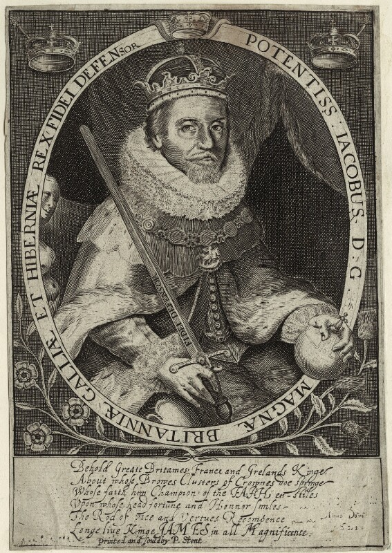 King James I of England and VI of Scotland, printed and published by Peter Stent, probably early to mid 17th century - NPG D25681 - © National Portrait Gallery, London