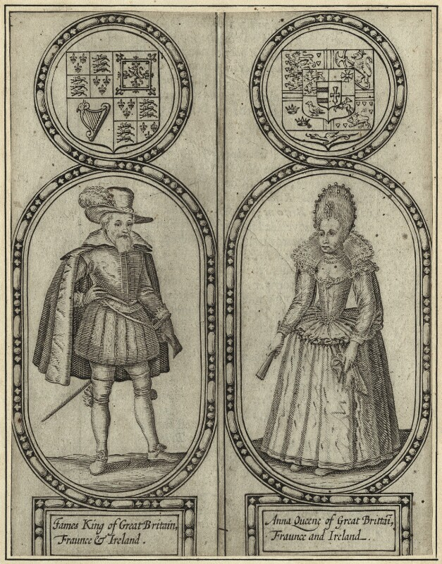 King James I of England and VI of Scotland and Anne of Denmark, by Renold or Reginold Elstrack (Elstracke), early 17th century - NPG D25686 - © National Portrait Gallery, London