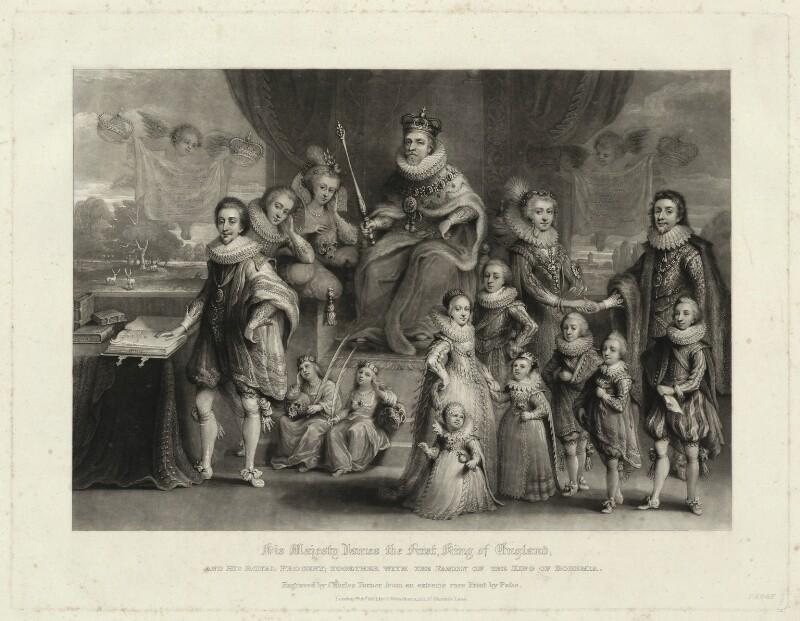 'James I and his royal progeny', by Charles Turner, published by  Samuel Woodburn, after  Willem de Passe, published 1814 - NPG D25692 - © National Portrait Gallery, London