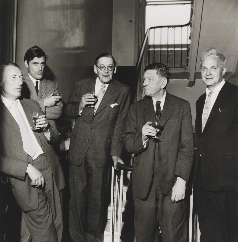 The Faber Poets ((Frederick) Louis MacNeice; Ted Hughes; T.S. Eliot; W.H. Auden; Stephen Spender), by Mark Gerson, 23 June 1960 - NPG x88256 - © Mark Gerson / National Portrait Gallery, London