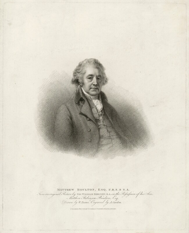 Matthew Boulton, by Anthony Cardon, published by  T. Cadell & W. Davies, after  William Evans, after  Sir William Beechey, published 1812 - NPG D32008 - © National Portrait Gallery, London