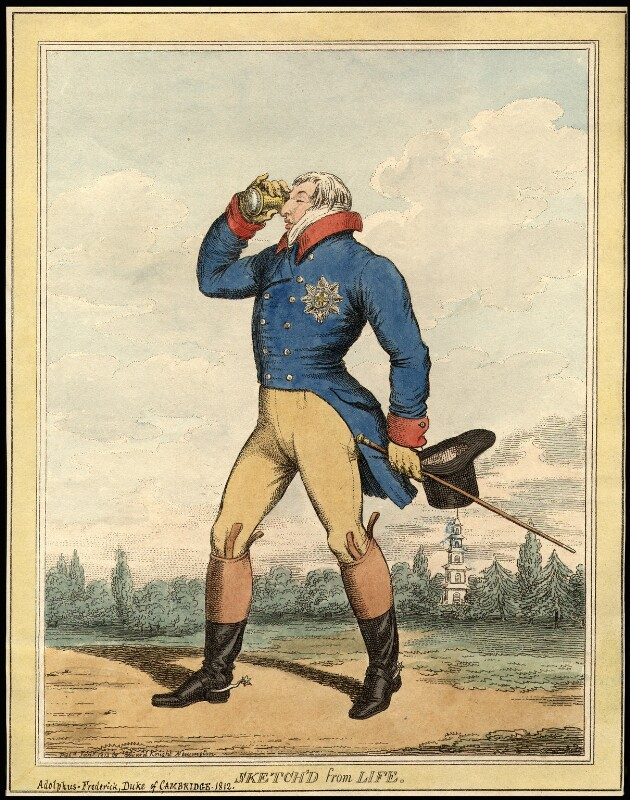 Ernest Augustus, Duke of Cumberland and King of Hanover, published by Edward Knight, after  Thomas Rowlandson, published January 1812 - NPG D9033 - © National Portrait Gallery, London