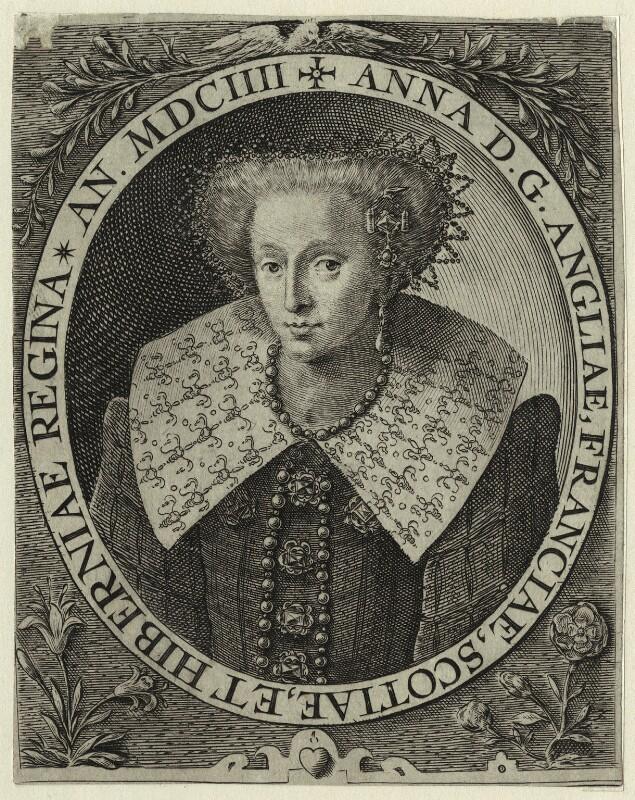 Anne of Denmark, by Crispijn de Passe the Elder, published 1604 - NPG D25722 - © National Portrait Gallery, London