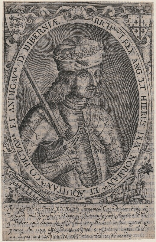 King Richard I ('the Lionheart'), probably by Renold or Reginold Elstrack (Elstracke), 1618 - NPG D32012 - © National Portrait Gallery, London