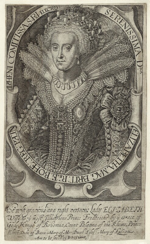 Princess Elizabeth, Queen of Bohemia and Electress Palatine, printed and published by Peter Stent, probably early 17th century - NPG D25749 - © National Portrait Gallery, London