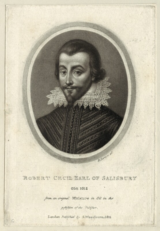 Unknown man engraved as Robert Cecil, 1st Earl of Salisbury, by Richard Earlom, published by  Samuel Woodburn, published 1811 - NPG D25761 - © National Portrait Gallery, London