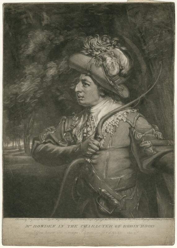 Wright Bowden as Robin Hood, by and published by John Raphael Smith, published 1787 - NPG D32016 - © National Portrait Gallery, London