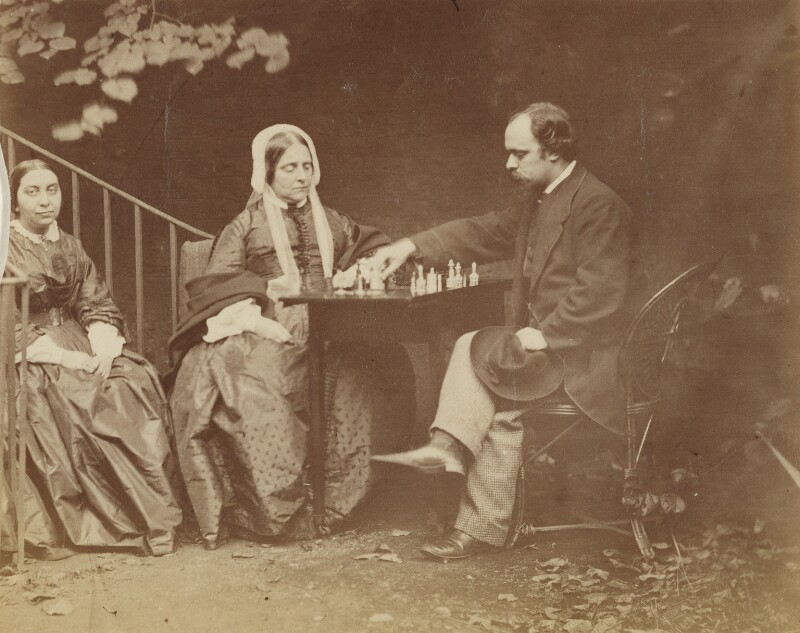 Maria Francesca Rossetti; Frances Mary Lavinia Rossetti (née Polidori); Dante Gabriel Rossetti, by Lewis Carroll, 7 October 1863 -NPG P1273(21b) - © National Portrait Gallery, London