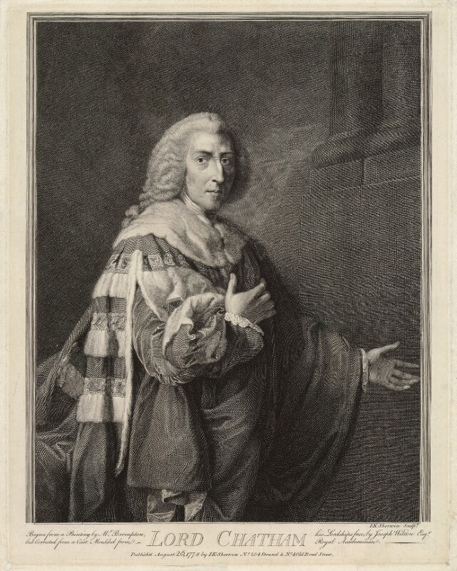 William Pitt, 1st Earl of Chatham, by John Keyse Sherwin, after  Richard Brompton, published 1778 - NPG D32032 - © National Portrait Gallery, London
