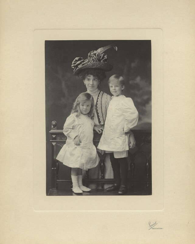 John Strachey; Margaret Winifred Strachey (née Severs); Richard Philip Farquhar Strachey, by Henry Charles Spink, 6 June 1908 - NPG x26189 - © National Portrait Gallery, London