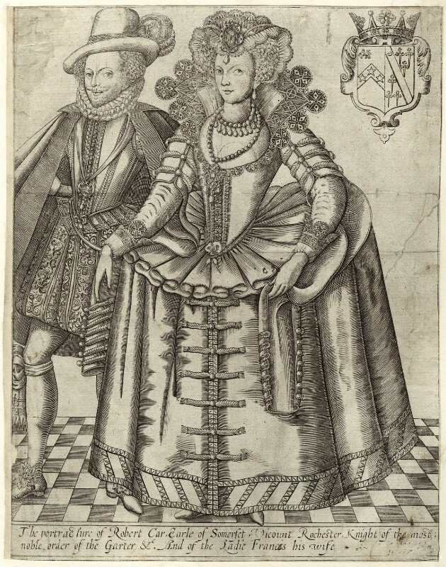 Robert Carr, Earl of Somerset and Frances, Countess of Somerset, attributed to Renold or Reginold Elstrack (Elstracke), sold by  John Hinde, circa 1615 - NPG D25783 - © National Portrait Gallery, London