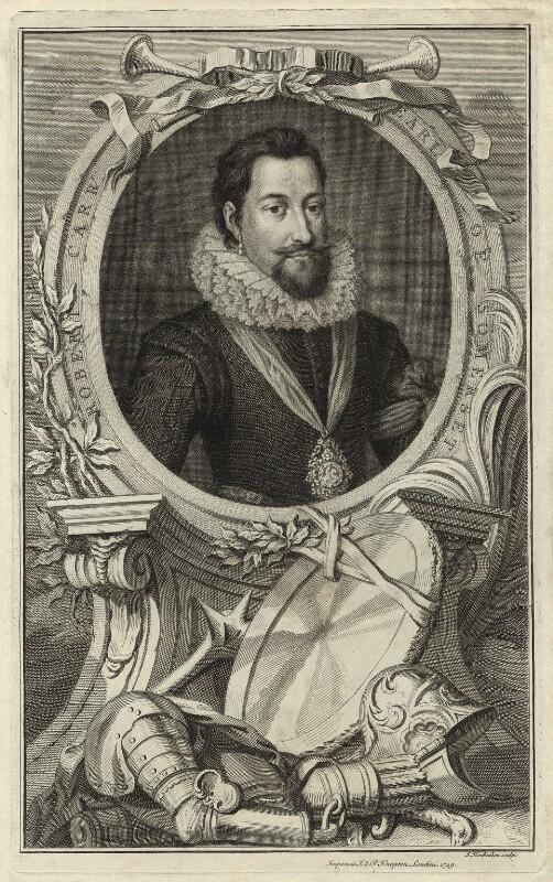 Robert Carr, Earl of Somerset, by Jacobus Houbraken, published by  John & Paul Knapton, published 1749 - NPG D25787 - © National Portrait Gallery, London