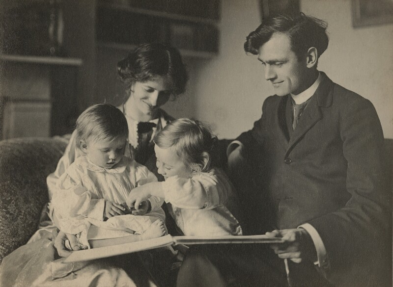 Sylvia Lynd; Robert Lynd and their two daughters, by Unknown photographer, 1913-1914 - NPG x1600 - © National Portrait Gallery, London