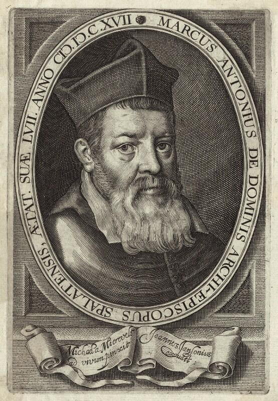Marco Antonio de Dominis, published by Jansonius, after  Michiel Jansz. van Miereveldt, early 17th century - NPG D25956 - © National Portrait Gallery, London