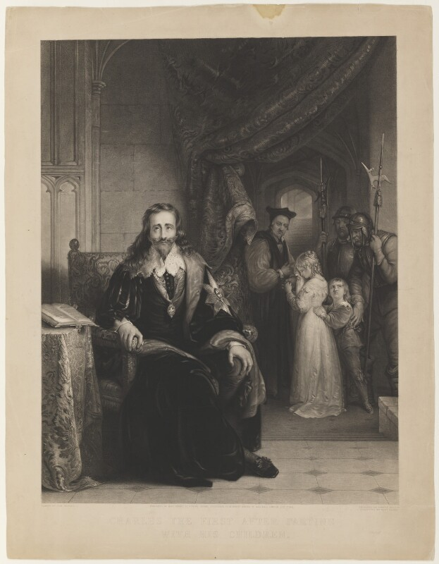 'Charles the First after parting with his children', by Samuel Bellin, published by  Mary Parkes, after  John Bridges, published 1841 (1838) - NPG D32079 - © National Portrait Gallery, London