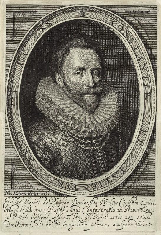 Dudley Carleton, Viscount Dorchester, by Willem Jacobsz Delff, after  Michiel Jansz. van Miereveldt, 1620 - NPG D26050 - © National Portrait Gallery, London
