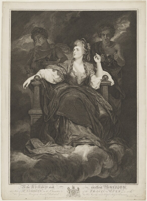 Sarah Siddons (née Kemble) as the Tragic Muse, by Francis Haward, after  Sir Joshua Reynolds, published 1787 (1783-1784) - NPG D9069 - © National Portrait Gallery, London