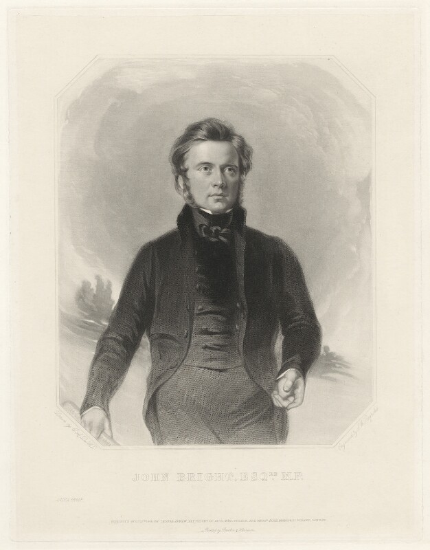 John Bright, by Samuel William Reynolds Jr, after  Charles Allen Duval, published 1843 - NPG D32107 - © National Portrait Gallery, London
