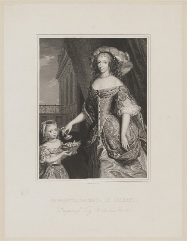 Henrietta Anne, Duchess of Orleans; Mary Charlotte Gage (née Bond), Lady Gage, by Joseph Brown, after  Unknown artist, published 1841 - NPG D32110 - © National Portrait Gallery, London
