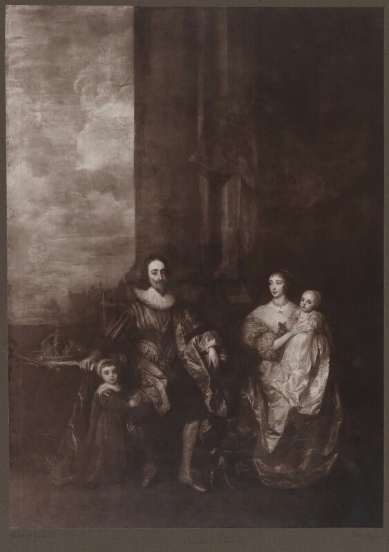 King Charles I; Henrietta Maria; King Charles II; Mary, Princess Royal and Princess of Orange, after Sir Anthony van Dyck, late 19th century (1632) - NPG D32112 - © National Portrait Gallery, London