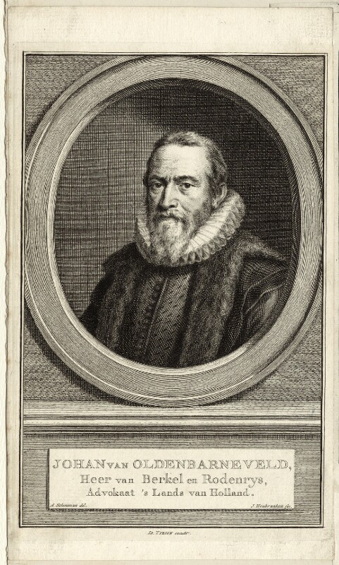 Sir John van Olden Barnavelt (Johan van Oldenbarnevelt), by Jacobus Houbraken, after  Aert Schouman, mid to late 18th century - NPG D26246 - © National Portrait Gallery, London