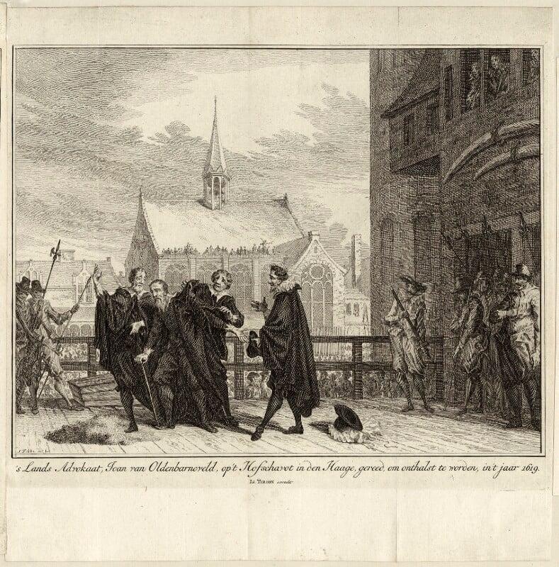 The execution of Sir John van Olden Barnavelt (Johan van Oldenbarnevelt), by Simon Fokke, mid to late 18th century - NPG D26247 - © National Portrait Gallery, London