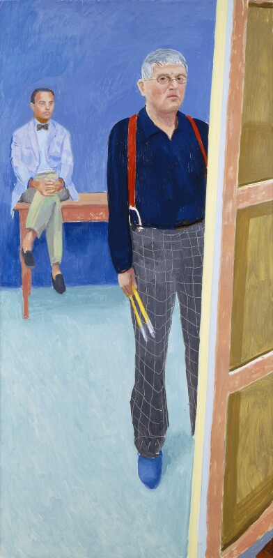 David Hockney ('Self-Portrait with Charlie'), by David Hockney, 2005 - NPG 6819 - © David Hockney, Collection National Portrait Gallery, London