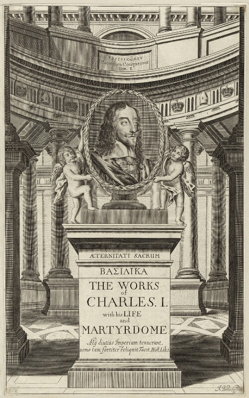 King Charles I in the title to ''The Works of Charles I'', by Abraham Hertochs (Hertocks), 1662 - NPG D26331 - © National Portrait Gallery, London