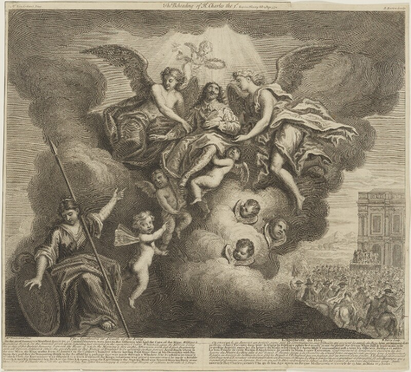 'The Apotheosis, or, Death of the King' ('The Beheading of King Charles I'), by Bernard Baron, published by  John Bowles, after  John Vanderbank, 1728 (1727) - NPG D26389 - © National Portrait Gallery, London