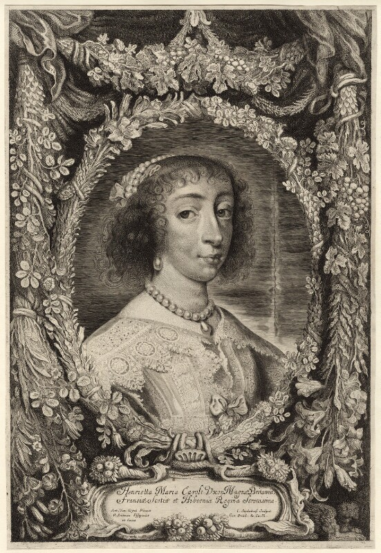 Henrietta Maria, by Jonas Suyderhoef, after  Sir Anthony van Dyck, mid 17th century - NPG D26391 - © National Portrait Gallery, London