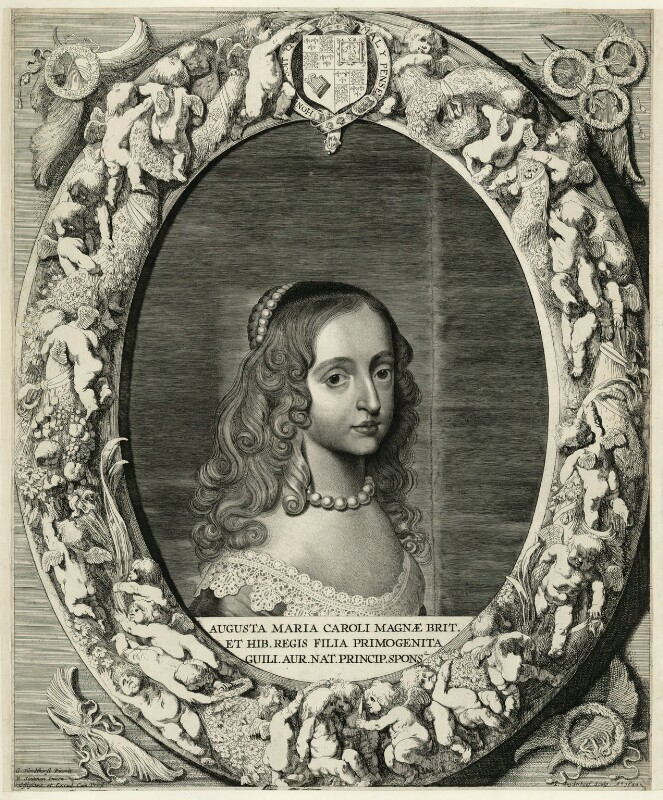 Mary, Princess of Orange, by Jonas Suyderhoef, published by  Pieter Claesz Soutman, after  Gerrit van Honthorst, published circa 1625-1650 - NPG D26429 - © National Portrait Gallery, London