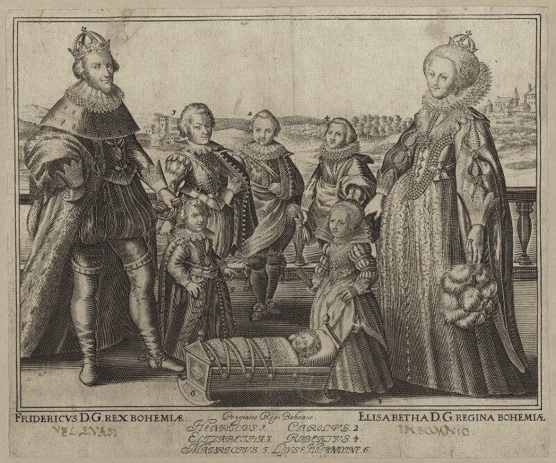 The King and Queen of Bohemia and their family, by Willem de Passe, 1622 or after - NPG D26452 - © National Portrait Gallery, London