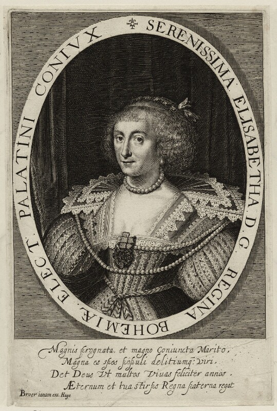 Princess Elizabeth, Queen of Bohemia and Electress Palatine, published by Broer Jansen, 17th century - NPG D26456 - © National Portrait Gallery, London